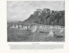 1897 VICTORIAN PRINT ~ STIRLING CASTLE SCOTLAND CORN FIELD SHEAVES + TEXT