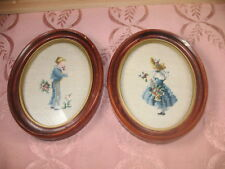 VTG ANTIQUE FRAMED NEEDLEPOINT SET BOY & GIRL OLD PLASTER FRAMES WITH GLASS 7C16