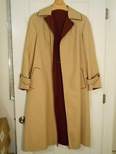 Etienne Aigner reversible tan burgundy leather tipped trench coat 8-10? medium
