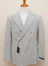 NWT Polo Ralph Lauren Double Breasted Seersucker Blazer Sportcoat Jacket 44L