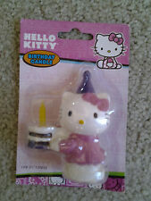 "HELLO KITTY with PARTY HAT HOLDING CAKE 3.5"" BIRTHDAY CANDLE by BAKERY CRAFTS!!!"