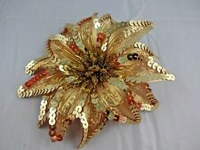 Sequin flower gold glitter hair clip ponytail band pin dancer 6 inches large