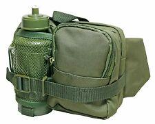 Olive Green TACTICAL WAIST PACK with WATER BOTTLE - Hiking Walking Utility Bag