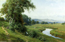 Harry Sutton Palmer Painting repro An Extensive River Landscape with Young Girl
