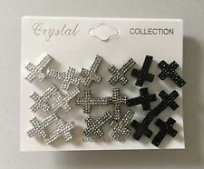 9 Pairs Fashion Jewelry Plastic Cross Post Stud Earrings Gift Pack, Sparkle Look