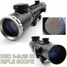 HOT Hunting Rifle Scope Sight 3-9X28IR  Mill-Dot IR Reticle 1/4 MOA 20mm Weaver