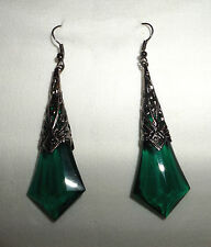 LARGE LONG GREEN FACETED ACRYLIC DROP BLACK PLATED DECO FILIGREE EARRINGS BLG