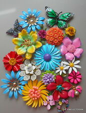 VINTAGE FLOWER PIN BROOCH OUTSTANDING (20)pc RAINBOW COLLECTION OF FLOWER POWER!