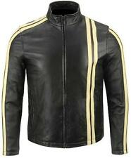 Men Black Biker Motorcycle Leather Jacket w/ White Stripes & Free CE Armors
