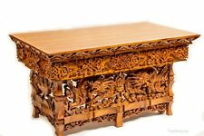 Hand Carved Altar Table Dragon Garuda Sheesham Wood Meditation Unique Small