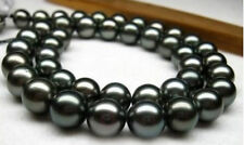 """18"""" Excellent AAA SOUTH SEA 11-12mm tahitian black pearl necklace 14K GOLD CLASP"""