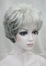 Gray white Mixed middle aged women elderly Ladies Fluffy full Wig FPTLD169