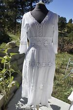 Vintage GAUZE HIPPIE BOHO MAXI DRESS NEIMAN MARCUS EXCLUSIVE White India M