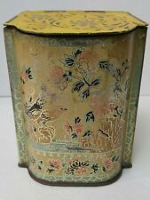 Vintage Antique Rare Tin Tea Empty Box Bird Flower lid england Yellow