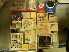 stamping rubber stamp lot crafts scrapbook 21 stamps 4 punches