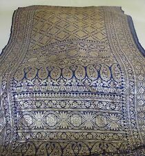 THAI Traditional  Blue Gold Silver Silk Hand  Woven Sarong  Shawl  Table  Runner
