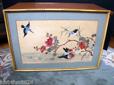 Antique Chinese Needlepoint of Birds & Flowers w/ Frame