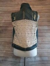 FREE PEOPLE top womens DENIM VEST crochet back small lace DISTRESSED boho hippie