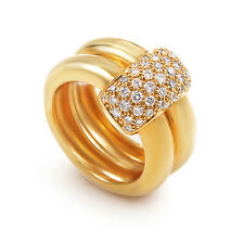 Chaumet 18K Yellow Gold Double Band Diamond Ring