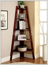 5 Shelves Corner Shelf Stand Wood Display Storage Furniture 6-Tier Cappuccino TM