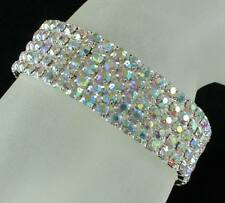 VEGAS AB AUSTRIAN RHINESTONE CRYSTAL STRETCH BANGLE BRACELET 5 ROW SILVER BRIDAL