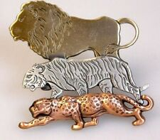 JUNGLE CATS LION TIGER PANTHER TRI-COLORED PEWTER COPPER BRASS BROOCH