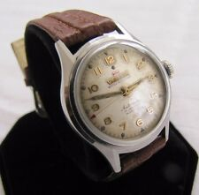 WAKMANN VINTAGE ALL SS SCREWBACK WATER RESIST 17J BIDYNATOR AUTOMATIC GREAT DIAL