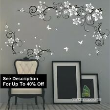 Wall Stickers Tree Flower Nursery Kids Art Decals Butterfly Vinyl Decor|@-P543B-