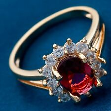 Size 6 Sun Flower Design Red C.Z Women Real Gold Plated Classic Rings