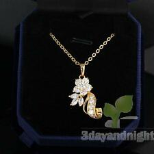 Flattering Flower Floral Necklace Lady Pendant Chain Jewelry Gold Filled NEW