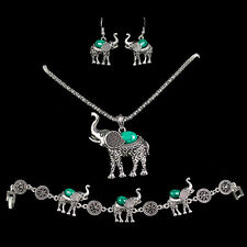 Elephant Turquoise Jewelry Sets Sliver Plated Necklace Earring Bracelet Gift NN