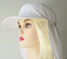 White FLAP HAT CAP Sun Protective EAR NECK PROTECTION Adjustable KIDS Teen Adult