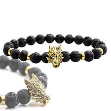 Lava Stein Surfer Stretch Armband Armreif Buddha Wolf Gold Perlenarmband Ketten