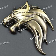 3D Metal Decal Sticker Bronze Right Wolf Head Car/Motorcycle Logo Badge Emblem