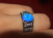 fire opal Cz ring gems silver jewelry Sz 6 6.5 7.5 chic cocktail engagement band