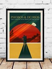 "SpaceX Mars travel poster Phobos and Deimos 16""x24"""