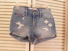 NEW Hollister High Rise Waisted Short Shorts Blue Denim Pants Women's Size 00