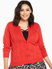Torrid HELLO KITTY Red Crochet Button Cardigan Sweater PLUS SIZE 3X HTF NWT