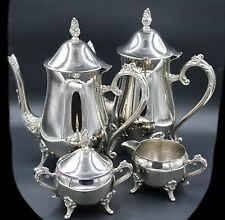 Vintage Antique Silver Plated Tea Coffee Set Creamer Lid Sugar Bowl Rosette 5 Pc