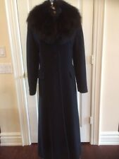 "CUSTOM MADE HOLT RENFREW 56"" BLACK FOX FUR CASHMERE AND LAMBSWOOL TRENCH COAT"
