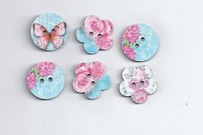 6Pcs DoreenBeads Wood Sewing Button Scrapbooking Mixed At Random 2 Holes (165)