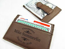 7 Personalized Engraved Leather Money Clips Groomsmen Best Man Usher Gift Brown