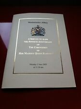 ORDER OF SERVICE PROG. CORONATION ANNIVERSARY OF HER MAJESTY QUEEN ELIZABETH II