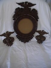 SEXTON SET OF 3 FRAME MIRROR CANDLE HOLDERS EAGLES  MARKED VINTAGE RARE STYLE