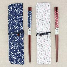 2 Pair Set Natural Beech Wood Chopsticks Handmade Bento Partner Gift Pocket