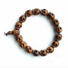New Cool Mens Gothic Tibetan Wood Skull Beaded Bracelet Fahsion Jewelry UNISEX