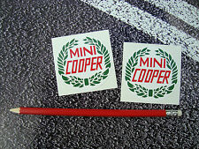 2 X CLASSIC MINI COOPER STICKERS ITALIAN JOB 6cm RALLY HOPKIRK BRITISH LEYLAND