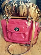 COACH Leah Embossed Pink Patent Leather Small TOTE detachable Shoulder Bag Purse