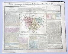 Dépt 43 - Rare Carte Géographique & Statistique de Haute Loire Aquarellée 1826