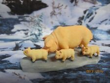 "TRAIN GARDEN HOUSE VILLAGE ANIMAL  "" FARM PIG & PIGLETS "" +DEPT 56/LEMAX info!"